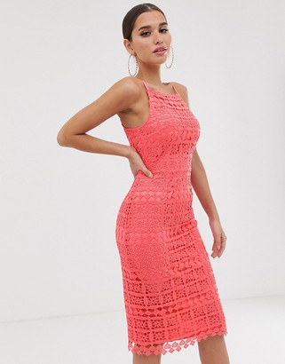 Club L London square neck lace dress with cut out back-Pink