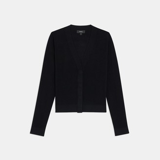 Theory Ribbed Cropped Cardigan in Stretch Knit