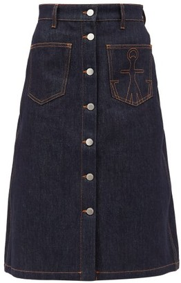 J.W.Anderson Logo-embroidered A-line Denim Skirt - Dark Denim