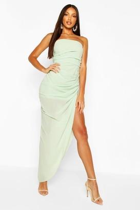 boohoo Chiffon Draped Corset Maxi Dress