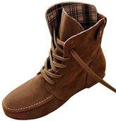 Donalworld Women Ancke Round Toe Flat Manmade Leather Martin Boots US 10