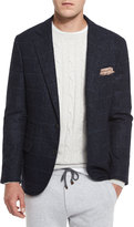 Brunello Cucinelli Boucle Plaid Two-Button Sport Jacket, Cobalt