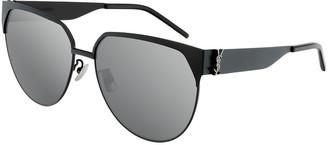 Saint Laurent Round Semi-Rimless Metal Sunglasses