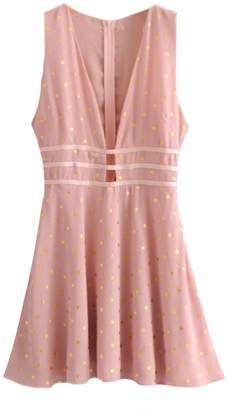 Goodnight Macaroon 'Hertha' Gold Foil Polka Dot Pink Mini Dress
