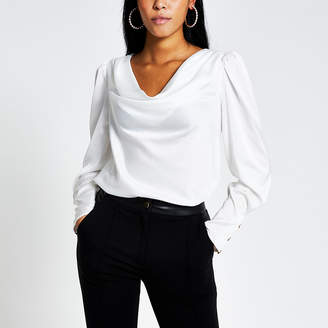 River Island White long sleeve cowl neck satin blouse