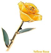 Zinnor Rose - Love Forever Long Stem Dipped 24k Gold Foil Trim Decorative Rose Flower, Best Gift for Valentine's Day, Mother's Day, Anniversary, Birthday Gifts