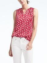 Banana Republic Easy Care Print Pleated-Neck Tank
