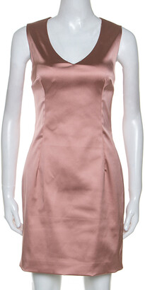 Dolce & Gabbana Rose Pink Satin Sleeveless Sheath Dress M