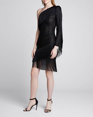 Dundas One-Shoulder Fringed Stretch-Lace Dress