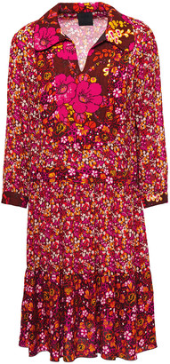 Anna Sui Georgette-paneled Jacquard-trimmed Floral-print Twill Shirt Dress