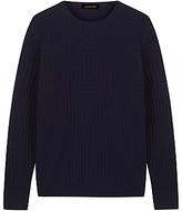 Jaeger Wool Geometric Knit Sweater, Navy