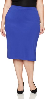 Kasper Women's Plus Size Midi Slim Skirt with Side Slits