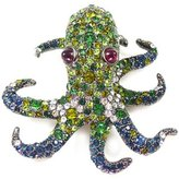 Kenneth Jay Lane Emerald Crystal & Gunmetal Octopus Brooch Pin