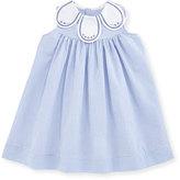 Luli & Me Sleeveless Striped Petal-Collar Dress, Blue/White, Size 3-24 Months