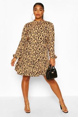 boohoo Plus Leopard Print High Neck Smock Dress