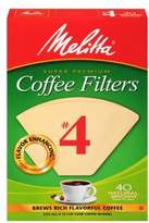 Melitta 40-Count Number 4 Natural Brown Super Premium Coffee Filters