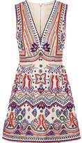 Alice + Olivia Patty Embellished Cotton-canvas Mini Dress