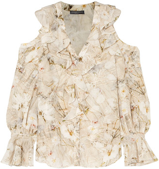 Alexander McQueen Cold-shoulder Ruffled Floral-print Silk Blouse