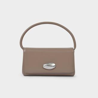 Little Liffner Baguette Handbag In Grey Leather