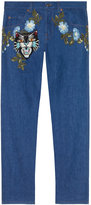 Gucci Tapered denim pant with embroidery