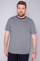 Yours Clothing BadRhino Navy & White Fine Striped Short Sleeved T-Shirt