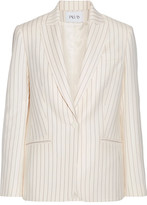 Pallas Arobase Pinstriped Grain De Poudre Wool Blazer - Cream