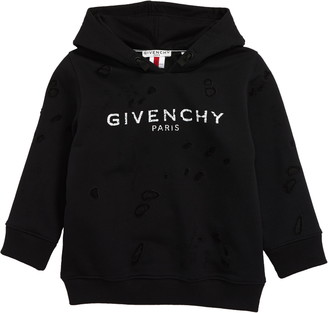 Givenchy Distressed Logo Cotton Blend Hoodie