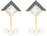 Swarovski Golden Pierced Earring Jackets, Blue
