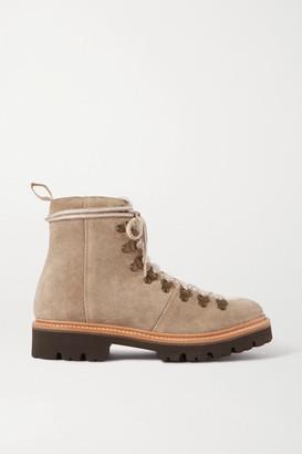 Grenson Nanette Shearling-trimmed Suede Boots - Beige