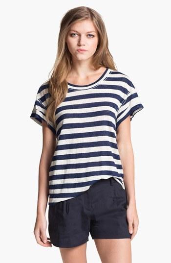 Theory 'Lisso' Stripe Tee Navy Multi Large