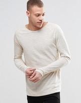 Nudie Jeans Otto Stripe Long Sleeve Top Slub in Off White/Blue