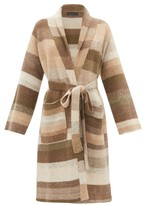 The Elder Statesman Belted Long-line Striped-cashmere Cardigan - Womens - Multi