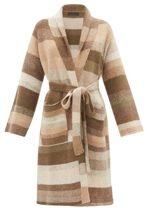 The Elder Statesman Belted Long-line Striped-cashmere Cardigan - Multi