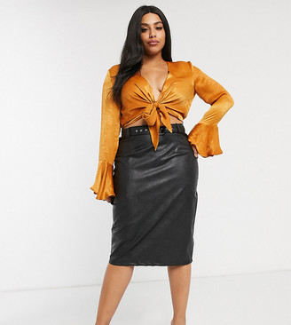 Paper Dolls Plus PU belted midi skirt in black
