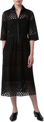 Akris Punto Long Sleeve Cotton Eyelet Midi Dress