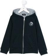 Diesel logo patch hooded sweatshirt - kids - Cotton - 6 yrs