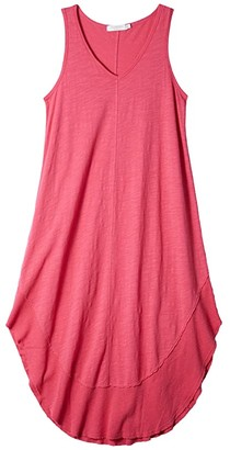Mod-o-doc Slub Jersey Rib Hem Midi Tank Dress (Azalea) Women's Clothing