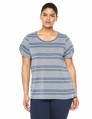 Andrew Marc Women's Plus Size Washed Short Sleeve Scattered Stripe tee