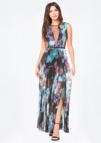 Bebe Petite Print Deep V Gown