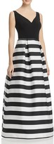 JS Collections Striped-Skirt Gown