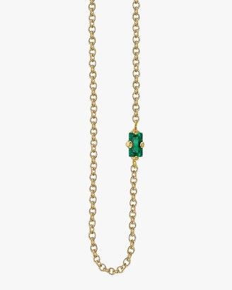 Lizzie Mandler Baguette Emerald Floating Necklace