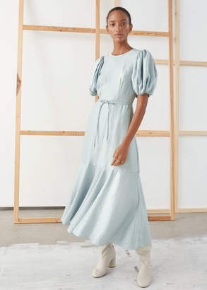And other stories Metallic Crepe Puff Sleeve Midi Dress