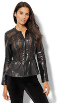 New York & Co. Lace-Inset Faux-Leather Jacket