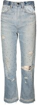 Amiri gradient crystal reconstructed indigo jeans