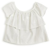 Ella Moss Girls' Faux Leather Perforated Ruffle Top - Sizes 7-14
