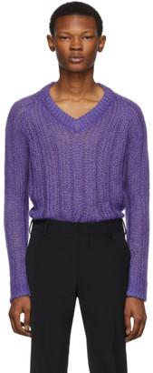 Prada Purple Knit V-Neck Sweater