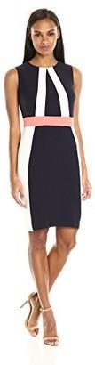 Sandra Darren Women's 1 Pc Sleeveless Color Block Crepe Sheath Dress