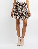 Charlotte Russe Floral Mesh Skater Skirt