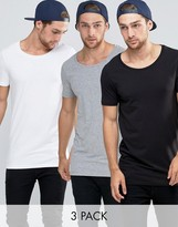 Asos 3 Pack Longline Muscle T-Shirt With Scoop Neck In White/Black/Gray