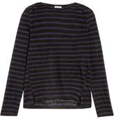 Frame Striped Linen Top - Black